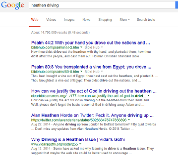 A screen capture of the Google search for Heathen Driving, showing the Vidar's Gothi article next to the Christian articles.