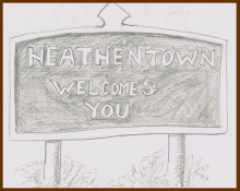 Road Sign says: Heathen Town Welcomes You
